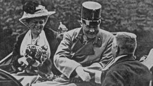 Franz Ferdinand leaving City Hall, Sarajevo before assassination