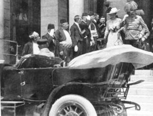Franz Ferdinand leaving City Hall before assassination