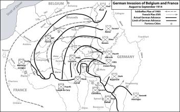 Map of Schlieffen Plan - German invasion 1914