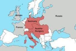 1914 map shows Italy as part of the Triple Alliance. Italy did not join with Germany