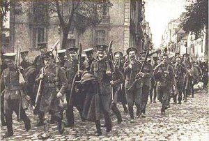 British Expeditionary Force 1914 marching through France