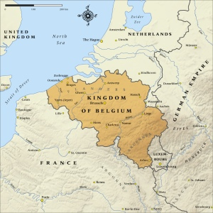 Map showing Belgium's critical location between France and Germany