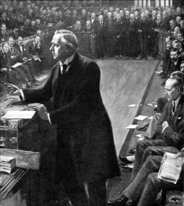 Prime Minister Asquith at dispatch box. The powerful core of his government were far from 'liberal' in their objectives.