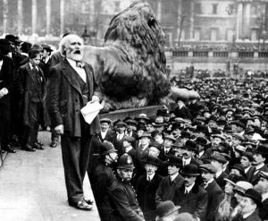 Keir Hardie speaking at Trafalgar Square peace rally