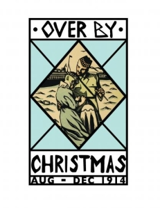Over by Christmas poster Aug-Dec 1914, kilted soldier saying farewell to his loved one