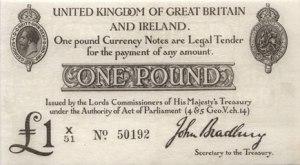 The first 'Bradbury' pound note