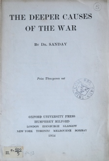 The First Oxford Pamphlet, 1914 - The Deeper Causes Of The War