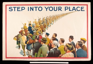 Propaganda poster - Step Into Your Place - long line of men waiting to enlist