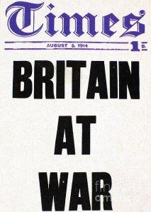 World War 1 newspaper headline ... Britain At War