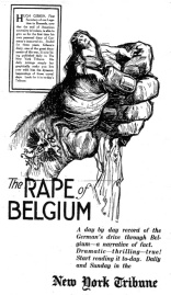 New York Tribune newspaper images to underline propaganda against Germany over atrocities in Belgium - The Rape of Belgium