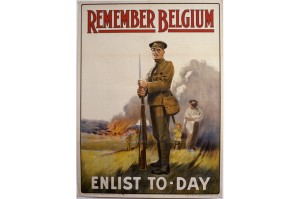 Propaganda Poster for enlistment - 'Remember Belgium, enlist to-day'