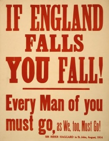 Propaganda Poster citing British author, Rider Haggard