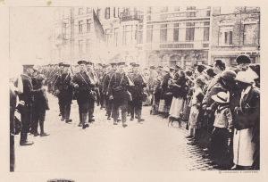 Churchill's Marines arriving in Antwerp 1914