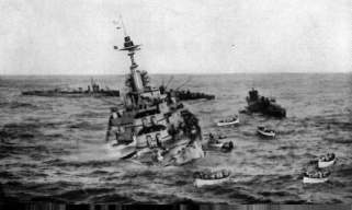 Sinking of HMS Audacious photographed from the SS Olympic