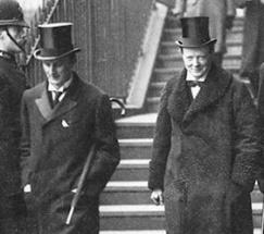 Sir Edward Grey (left) Winston Churchill