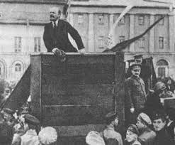 Vladimir Lenin addresses the people