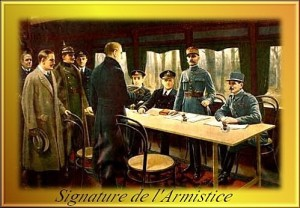 Armistice  signed in railway carriage at Compiegne on 11 November 1918
