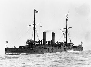 HMS Edgar, one of the brave little antiquated cruisers that formed the 10th Squadron