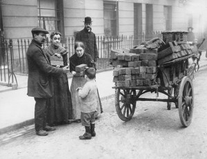 Coal venders selling briquettes