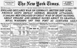 New York Times headline,  war declared