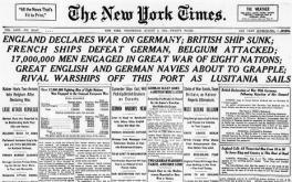New York Times headline,  war declared