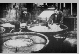 Preparing gun cotton for munitions, an extremely dangerous occupation