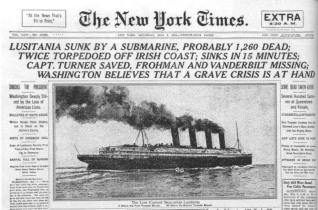 New York Times front page announcing the loss of the Lusitania