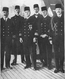 Admiral Souchon (centre) and officers, now wearing the  Fez