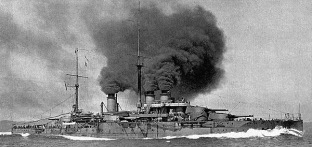 One of the four Courbet Class French Dreadnoughts 1914