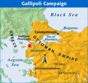 Map showing Constantinople, the Dardanelles and the Gallipoli Peninsula