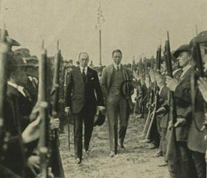 Sir Edward Carson and Mr F E  Smith reviewing Ulster Volunteer Force  in former times