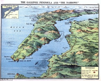 Map of the Gallipoli Peninsula and the Narrows