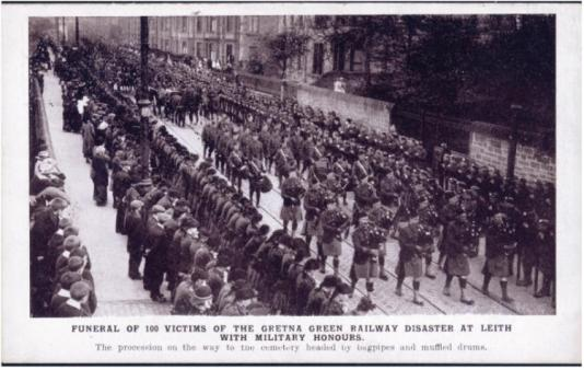 Leith streets in regimental mourning for the remains of those tragically killed at Gretna