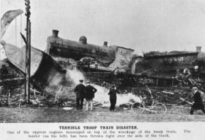 The engine from the London night train mounted the wooden carriages and crushed those inside