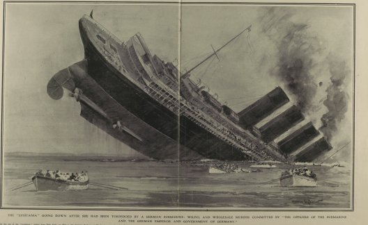 Image of sinking lusitania drawn for the Illustrated History of the First World War by Norman Wilkinson.