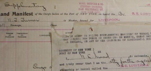 Lusitania cargo manifest -Front page