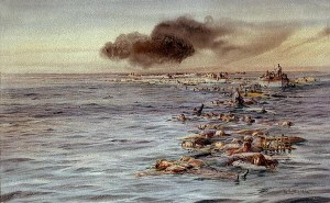 Lusitania deaths painting by  William Lionel Wyllie in National Maritime Museum, Greenwich