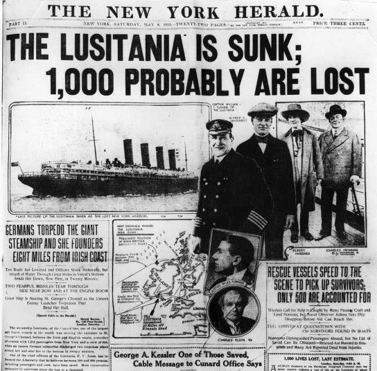 Image result for lusitania headline