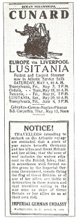 Lusitania warning posted by the Imperial German Embassy before she sailed