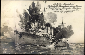 Post-card image of the German light cruiser Magdeburg under attack
