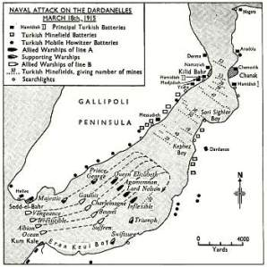 Map showing naval attack on Dardanelles 18 March 1915.