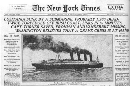 New York Times Lusitania Headline