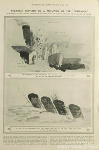 oliver bernard's illustrations taken from the sinking lusitania and from rescue boat