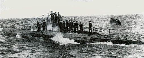 U 20 surfacing at sea