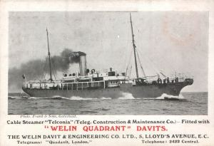 Cable Ship Telconia which did so much damage to German communications across the Atlantic.