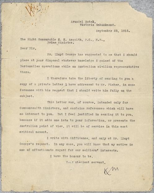 Keith Murdoch's letter to Asquith