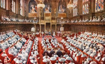 The House of Lords.  The opening of the Houses of Parliament by King George V (1915)