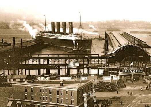 Lusitania at Pier 54,  New York