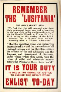 Rember The Lusitania Propaganda Poster
