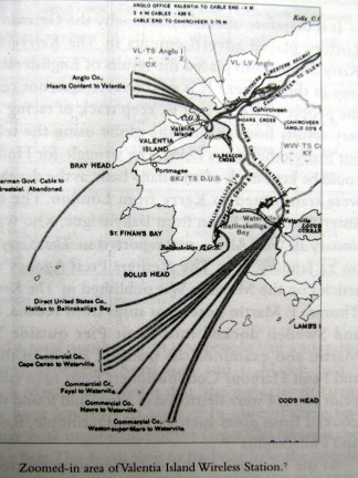 Valentia marconi wireless map showing area covering Lusitania's approach
